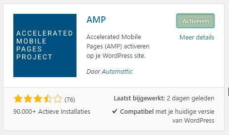 AMP Plugin inactiveren in WordPress
