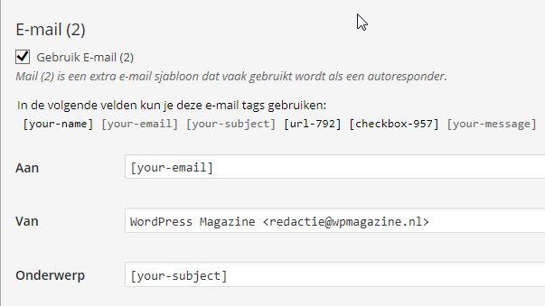 Extra Mail bevestiging verzending contactformulie