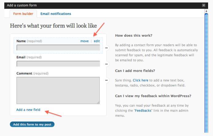 Jetpack WordPress Contact Form