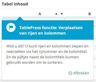 Tabellen maken wordpress