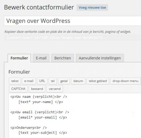WordPress Contact Form 7 Bewerken