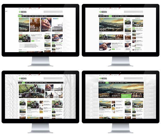 Diverse becks lay-out mogelijkheden voor de home pagina