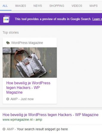WordPress Magazine AMP Google Search resultaat